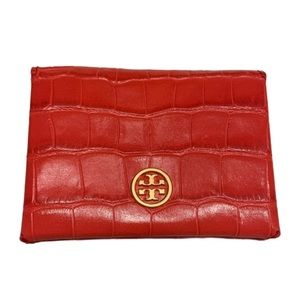 Tory Burch Parker embossed red leather card holder